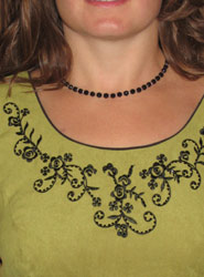 onyx necklace on lime