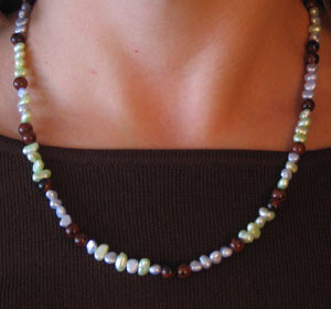 Hand Crafted Freshwater pearl necklace made in America using unique pearls